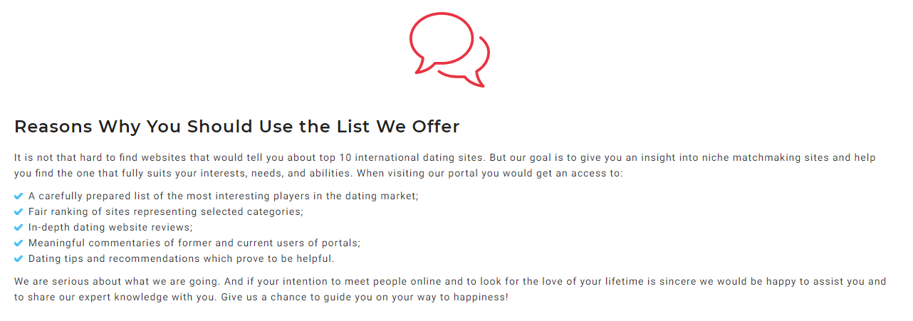 goals of dating sites